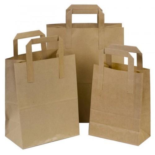 Popieriniai maišeliai plokščiomis rankenėlėmis 180x80x220 mm